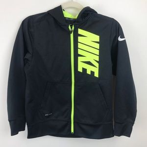 Nike Boys Black & Neon Yellow Zip Up Hoodie